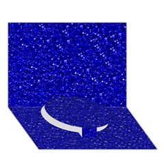 Sparkling Glitter Inky Blue Circle Bottom 3d Greeting Card (7x5)