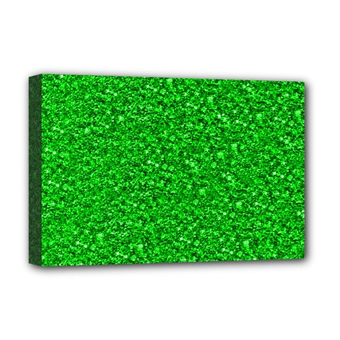 Sparkling Glitter Neon Green Deluxe Canvas 18  X 12   by ImpressiveMoments