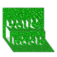 Sparkling Glitter Neon Green You Rock 3d Greeting Card (7x5)