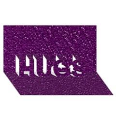 Sparkling Glitter Plum HUGS 3D Greeting Card (8x4)