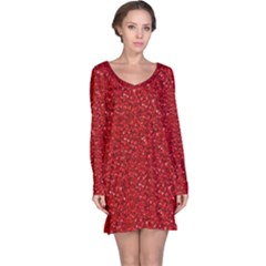 Sparkling Glitter Red Long Sleeve Nightdresses