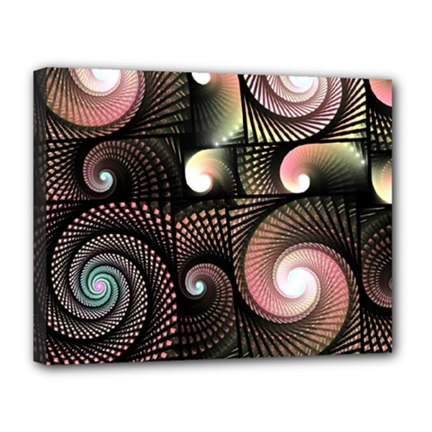 Peach Swirls On Black Canvas 14  X 11  by KirstenStar