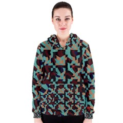 Distorted Shapes In Retro Colors Women s Zipper Hoodie by LalyLauraFLM