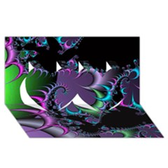 Fractal Dream Twin Hearts 3D Greeting Card (8x4)  by ImpressiveMoments