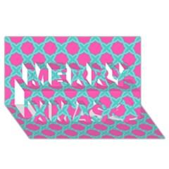 Cute Pretty Elegant Pattern Merry Xmas 3d Greeting Card (8x4)  by creativemom
