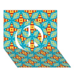 Cute Pretty Elegant Pattern Peace Sign 3d Greeting Card (7x5)  by creativemom