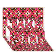 Cute Pretty Elegant Pattern Take Care 3d Greeting Card (7x5)