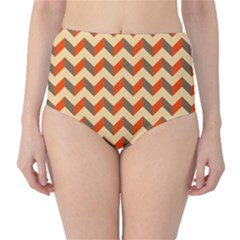 Modern Retro Chevron Patchwork Pattern  High-Waist Bikini Bottoms by creativemom