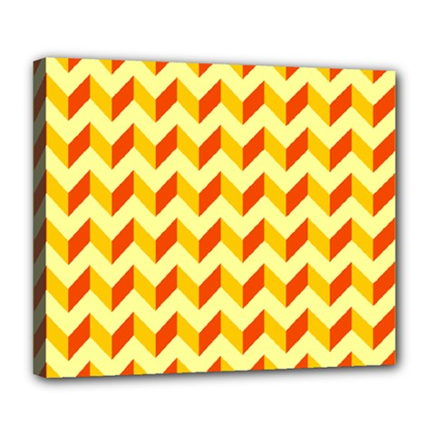 Modern Retro Chevron Patchwork Pattern  Deluxe Canvas 24  X 20   by creativemom