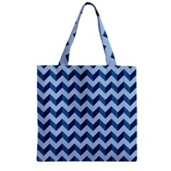 Modern Retro Chevron Patchwork Pattern Zipper Grocery Tote Bags by creativemom