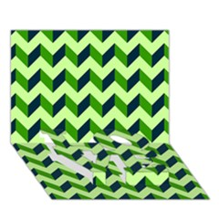 Modern Retro Chevron Patchwork Pattern Love Bottom 3d Greeting Card (7x5)