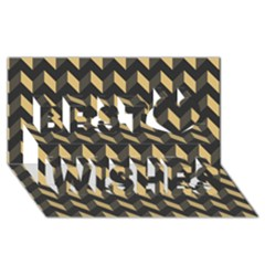 Modern Retro Chevron Patchwork Pattern Best Wish 3d Greeting Card (8x4)  by creativemom