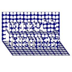 Blue And White Leaf Pattern Happy Birthday 3d Greeting Card (8x4)