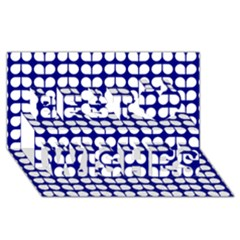 Blue And White Leaf Pattern Best Wish 3d Greeting Card (8x4)