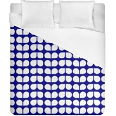 Blue And White Leaf Pattern Duvet Cover Single Side (double Size) by creativemom