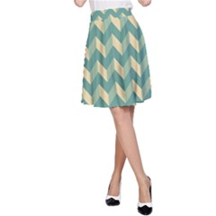 Modern Retro Chevron Patchwork Pattern A-Line Skirts by creativemom