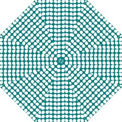 Teal And White Leaf Pattern Folding Umbrellas by creativemom