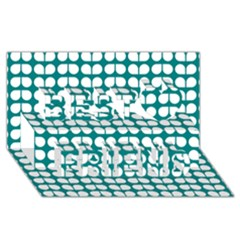 Teal And White Leaf Pattern Best Friends 3d Greeting Card (8x4)  by creativemom