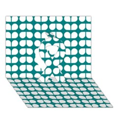 Teal And White Leaf Pattern Ribbon 3d Greeting Card (7x5)  by creativemom