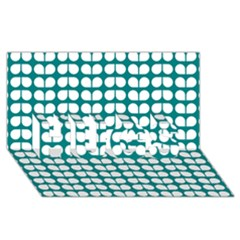 Teal And White Leaf Pattern Hugs 3d Greeting Card (8x4)  by creativemom