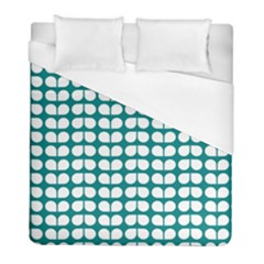 Teal And White Leaf Pattern Duvet Cover Single Side (twin Size) by creativemom