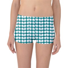 Teal And White Leaf Pattern Reversible Boyleg Bikini Bottoms