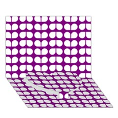 Purple And White Leaf Pattern Heart Bottom 3d Greeting Card (7x5)
