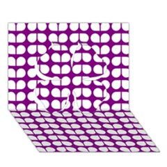 Purple And White Leaf Pattern Clover 3d Greeting Card (7x5)  by creativemom