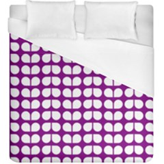 Purple And White Leaf Pattern Duvet Cover Single Side (kingsize)