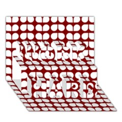 Red And White Leaf Pattern Work Hard 3d Greeting Card (7x5)