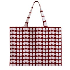 Red And White Leaf Pattern Zipper Tiny Tote Bags