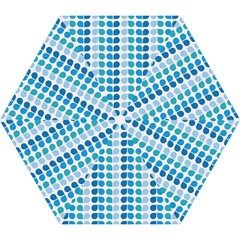 Blue Green Leaf Pattern Mini Folding Umbrellas
