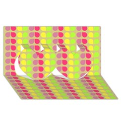 Colorful Leaf Pattern Twin Hearts 3d Greeting Card (8x4)  by creativemom