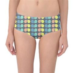 Colorful Leaf Pattern Mid-Waist Bikini Bottoms