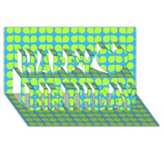 Blue Lime Leaf Pattern Happy Birthday 3d Greeting Card (8x4)  by creativemom