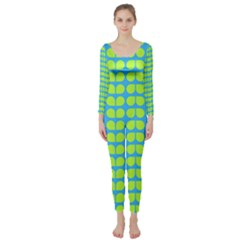 Blue Lime Leaf Pattern Long Sleeve Catsuit by creativemom