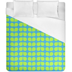 Blue Lime Leaf Pattern Duvet Cover Single Side (double Size)