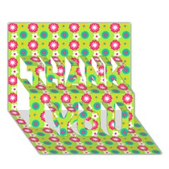 Cute Floral Pattern Thank You 3d Greeting Card (7x5)  by creativemom