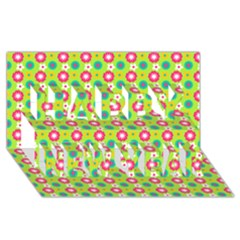 Cute Floral Pattern Happy New Year 3d Greeting Card (8x4)  by creativemom