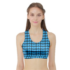 Blue Gray Leaf Pattern Women s Sports Bra With Border