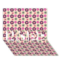 Cute Floral Pattern Hope 3d Greeting Card (7x5)  by creativemom