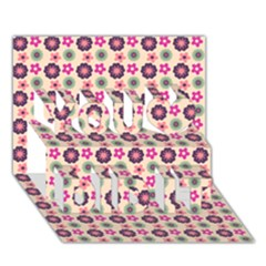 Cute Floral Pattern You Did It 3d Greeting Card (7x5)