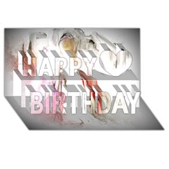 Abstract Angel In White Happy Birthday 3d Greeting Card (8x4)  by theunrulyartist