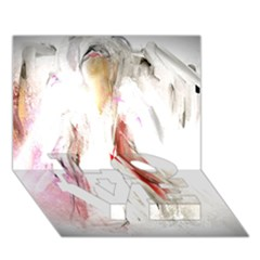 Abstract Angel In White Love Bottom 3d Greeting Card (7x5)