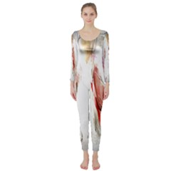Abstract Angel In White Long Sleeve Catsuit
