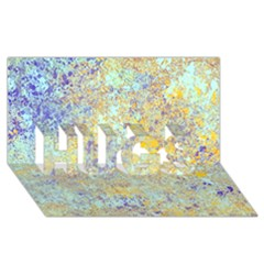 Abstract Earth Tones With Blue  Hugs 3d Greeting Card (8x4)