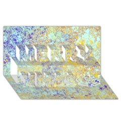 Abstract Earth Tones With Blue  Merry Xmas 3d Greeting Card (8x4)