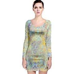 Abstract Earth Tones With Blue  Long Sleeve Bodycon Dresses by digitaldivadesigns