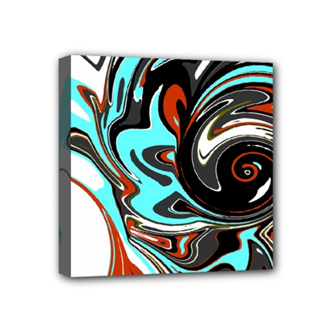 Abstract In Aqua, Orange, And Black Mini Canvas 4  X 4  by theunrulyartist