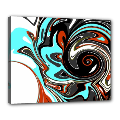 Abstract In Aqua, Orange, And Black Canvas 20  X 16  by theunrulyartist